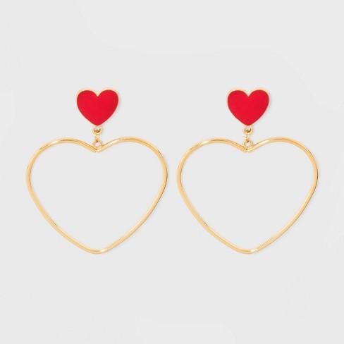 Heart Post Open Heart Drop Earrings - Wild Fable™ Gold - image 1 of 3