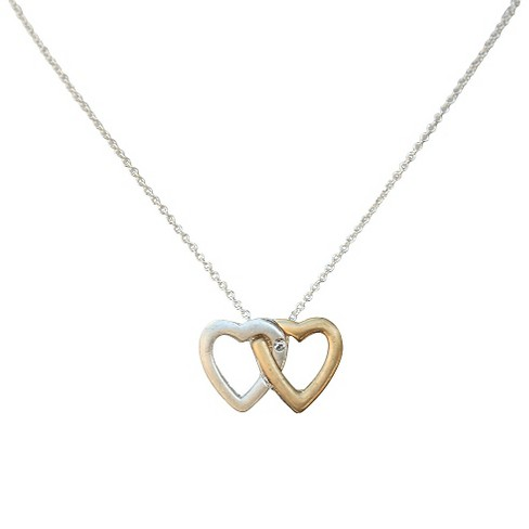 "Zirconite Intertwined Heart Charm Pendant Station Necklace Silver - 16"" - image 1 of 1"