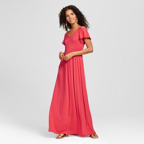Women s Cold Shoulder Maxi Dress Coral - Vanity Room   Target 10761cd66