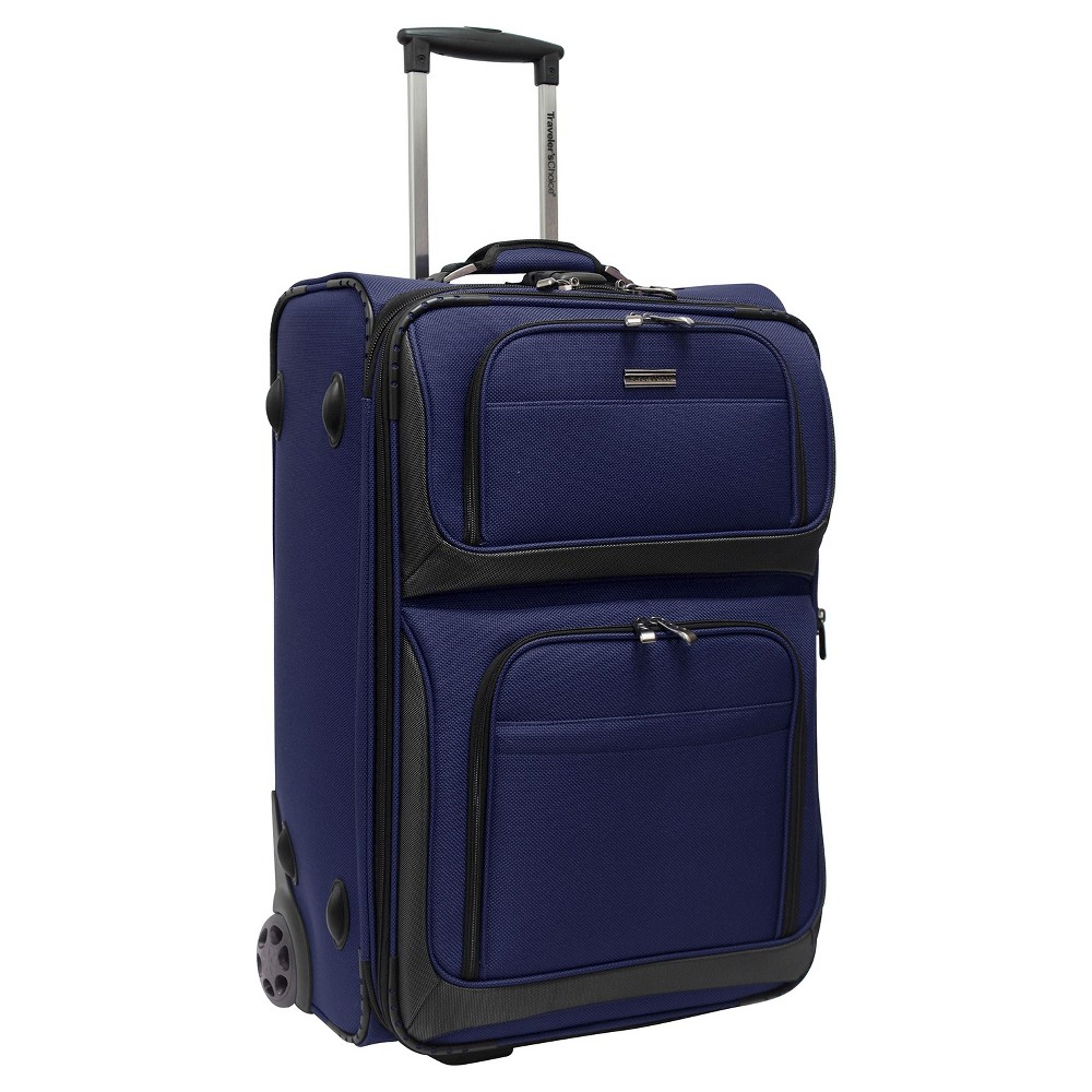 "Image of ""Traveler's Choice Conventional II 26"""" Rugged Rollaboard Suitcase - Navy, Blue Black"""