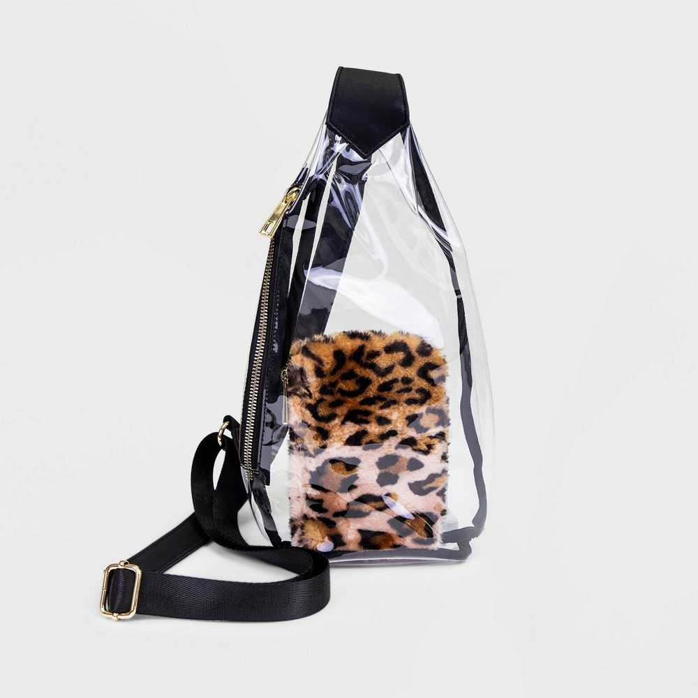 Image of Stella & Max Clear Sling Pack With Leopard Print Pouch And Phone Charging Battery - Black, Clear Brown