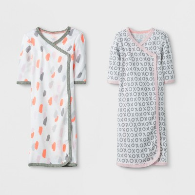 Baby Girls' 2pk Gown Set Cloud Island™ - Gray/White Preemie