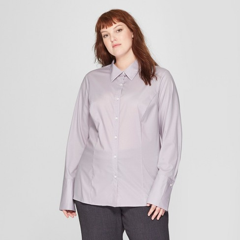 f3b584a81 Women's Plus Size Long Sleeve Fitted Button-Down Collared Shirt - Prologue™