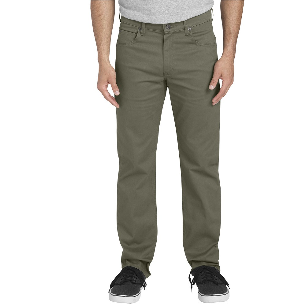 Dickies Men's Flex Twill Regular Straight Fit 5-Pocket Pants - Rinsed Moss Green 34x30