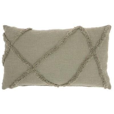 "14""x24"" Distressed Diamond Throw Pillow Green - Mina Victory"