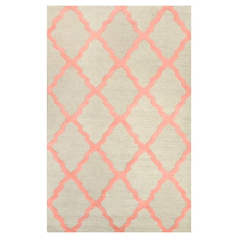 "nuLOOM 100% Wool Hand Hooked Marrakech Trellis Accent Rug - Pink (3' 6"" x 5' 6"") - image 1 of 3"