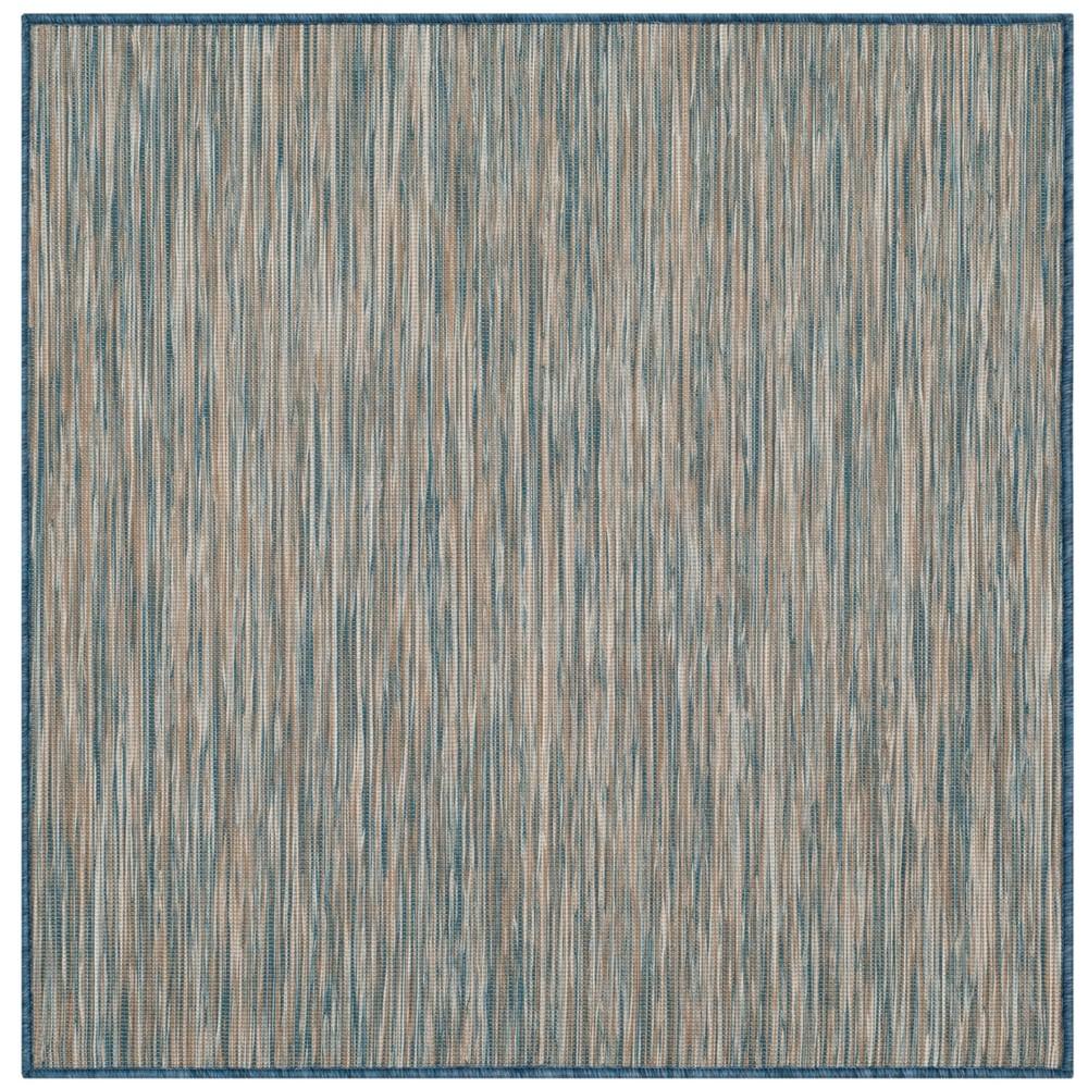 6'7X9' Solid Loomed Area Rug Teal/Brown (Blue/Brown) - Safavieh