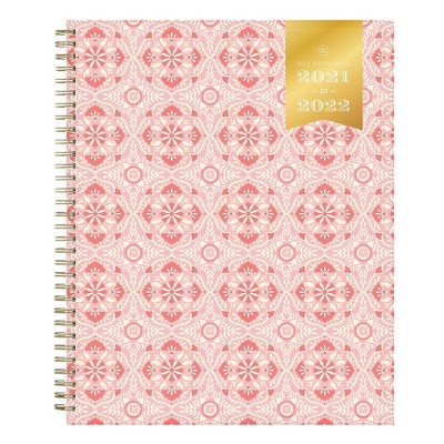 """2021-22 Academic Planner 8.5"""" x 11"""" Clear Pocket Cover Weekly/Monthly Wirebound Isla Tile Pink - Day Designer"""