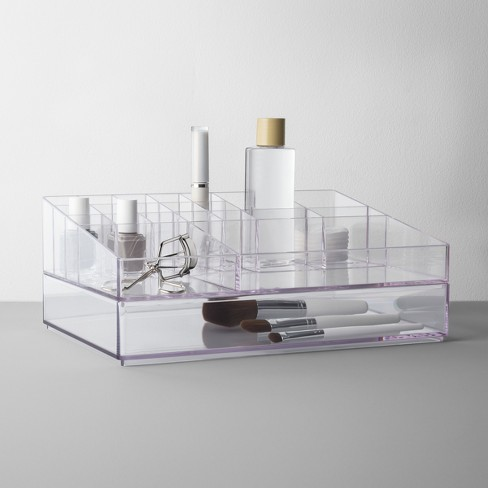 Extra Large Bathroom Plastic Tiered Cosmetic Organizer Clear  - Made By Design™ - image 1 of 2