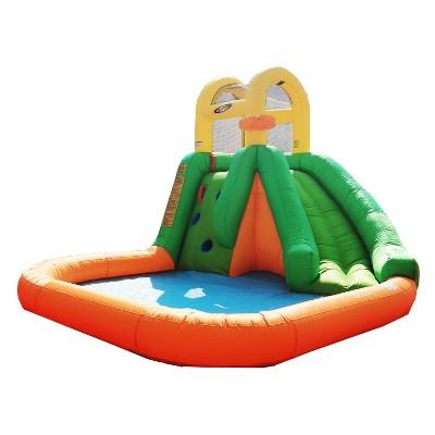 Magic Time International MTI 91448 Splash Fun Giant Slide Backyard Inflatable Water Park Splash Pad with Basketball Hoop and Mesh Safety Walls
