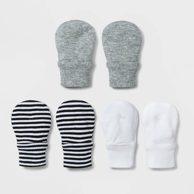 Baby 3pk Basic Mittens - Cloud Island™ White/Gray/Black