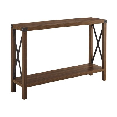 "46"" Urban Industrial Farmhouse Metal X Entry Table Dark Walnut - Saracina Home"