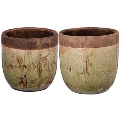 Candia Two-Tone Earthen Pots Short - Set of 2 - AB Home Inc.