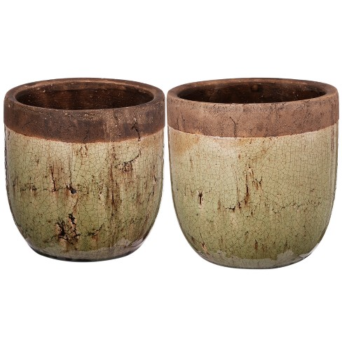 Candia Two-Tone Earthen Pots Short - Set of 2 - AB Home Inc. - image 1 of 3