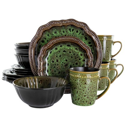 16pc Stoneware Jade Waves Dinnerware Set Green - Elama
