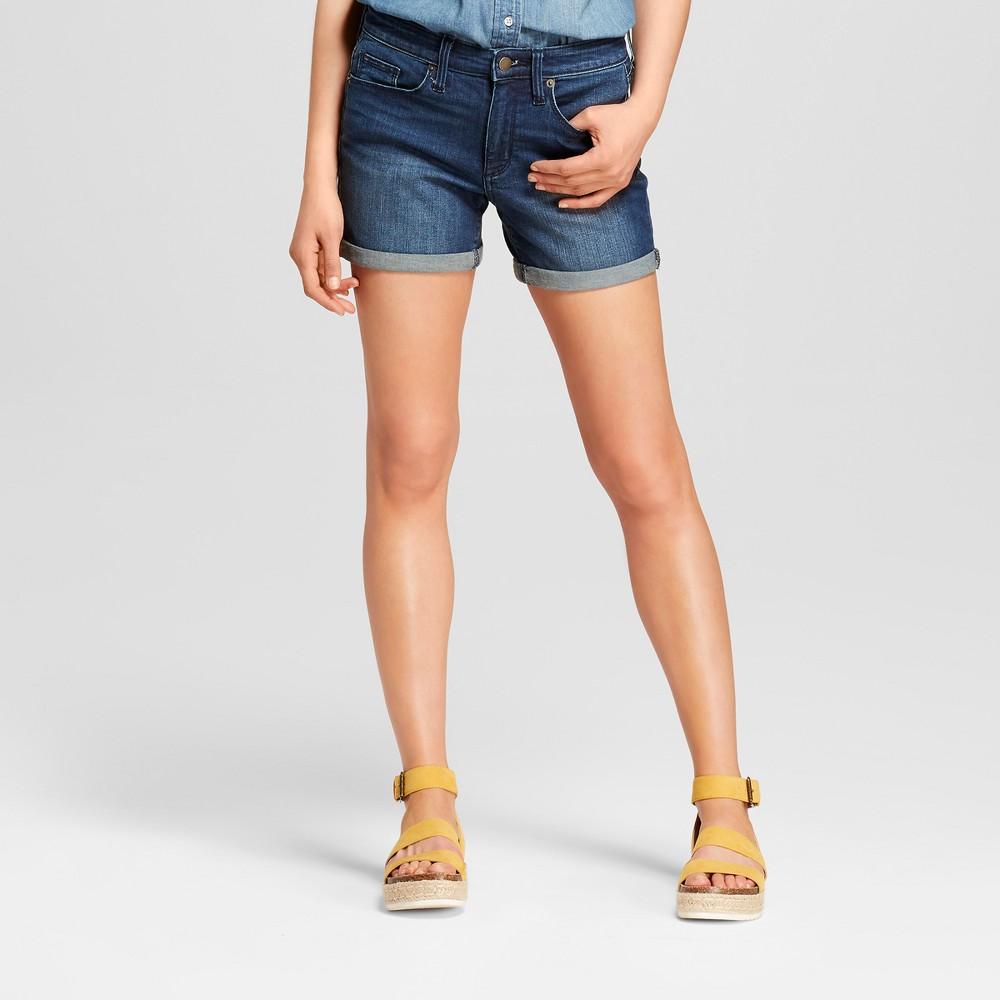 Women's High-Rise Midi Length Jean Shorts - Universal Thread Dark Wash 2, Blue