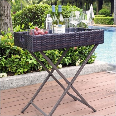 Steel Wicker Patio Butler Tray in Brown-Bowery Hill - image 1 of 1