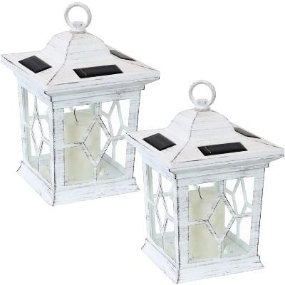 "Sunnydaze Outdoor Lucien Hanging Tabletop Solar LED Rustic Farmhouse Decorative Candle Lantern - 9 - White - 2pk"""