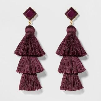 SUGARFIX by BaubleBar Tassel Drop Earrings with Crystal Studs - Lilac