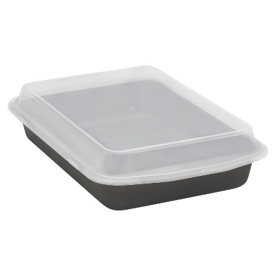 Baker's Secret 13 x 9 Inch Cook 'N Carry Cake Pan with Lid - Gray