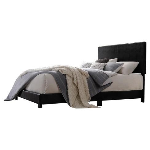 Lien Queen Bed Black Faux Leather Acme Target
