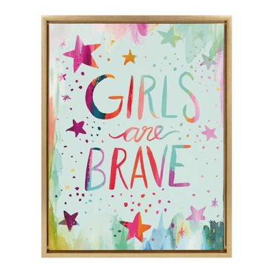 "18"" x 24"" Sylvie Girls are Brave Framed Canvas Wall Art by Ettavee Gold - Kate and Laurel"