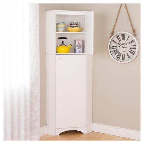 Elite Tall 2 Door Corner Storage Cabinet White Prepac