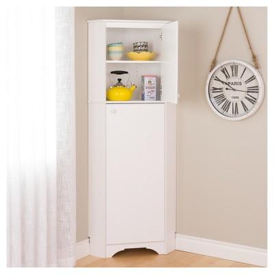 Bon Elite Tall 2   Door Corner Storage Cabinet   White   Prepac