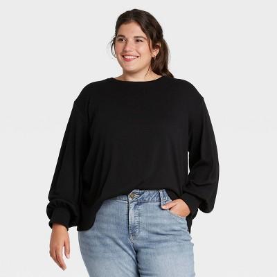 Women's Plus Size Smocked Cuff Top - Ava & Viv™ Black 4X