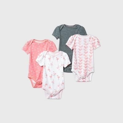 Baby Girls' 4pk Flamingo Parade Short Sleeve Bodysuit - Cloud Island™ Pink 0-3M