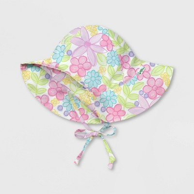 green sprouts Baby Girls' Watercolor Flowers Brim Sun Protection Hat - White 0-6M