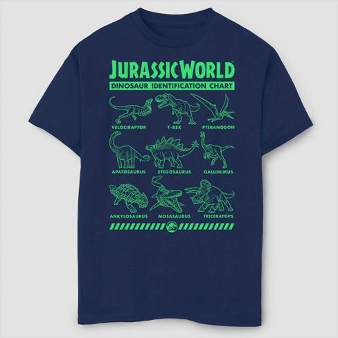 Boys' Jurassic World Fallen Kingdom Dino Identification T-Shirt - Navy - image 1 of 2