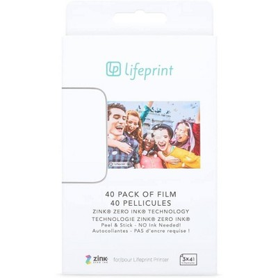 Lifeprint Film for Lifeprint Augmented Reality Photo and Video Printer. 3x4.5 Zero Ink Sticky Backed Film