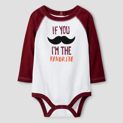 Baby Boys' Long Sleeve If You Mustache Bodysuit Cat & Jack™ - White 6-9M