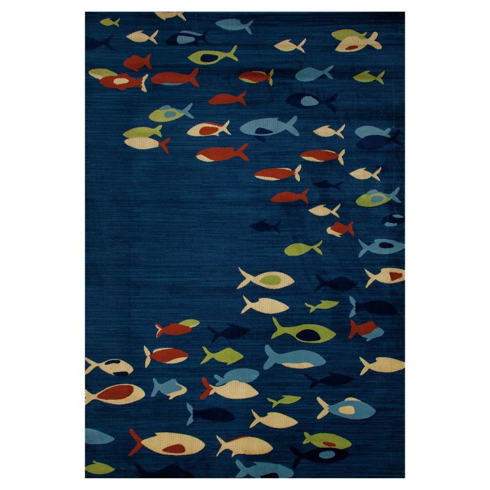 Navy Blue Animal Print Woven Area Rug - (7'X9') - Art Carpet