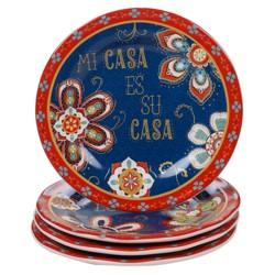 """9"""" 4pk Earthenware La Vida Dessert Plates Blue - Certified International"""