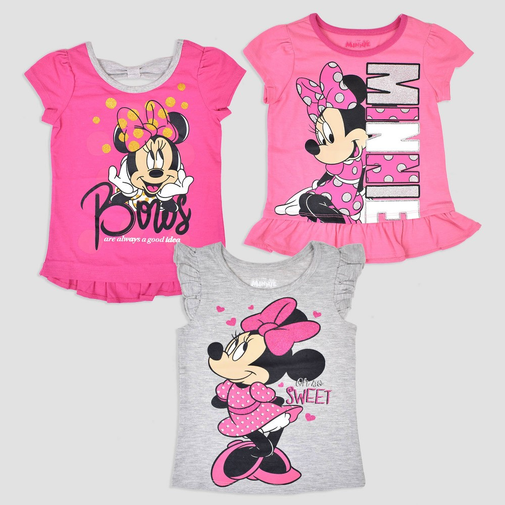 Toddler Girls' 3pk Disney Mickey Mouse & Friends Minnie Mouse Short Sleeve T-Shirt - Pink/Gray 2T, Multicolored