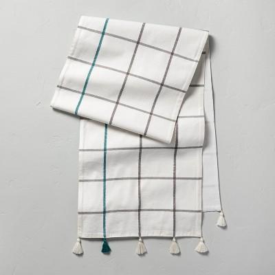 Windowpane Plaid Tassel Table Runner Teal/Gray - Hearth & Hand™ with Magnolia
