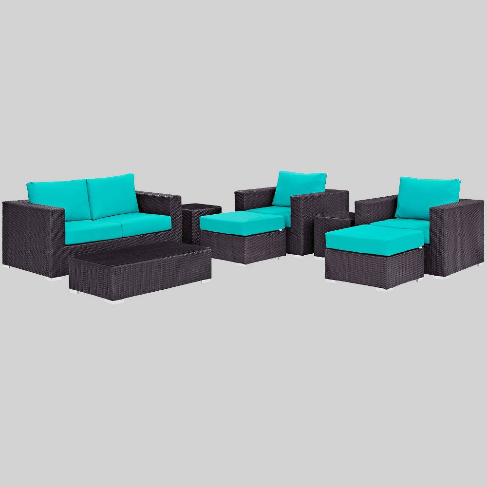 Convene 8pc Outdoor Patio Sofa Set Turquoise Modway