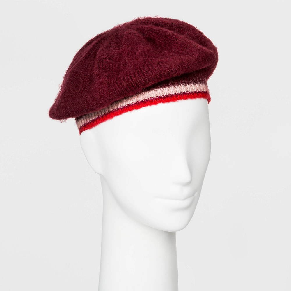 Women's Vintage Hats | Old Fashioned Hats | Retro Hats Womens Knit Beret - A New Day Burgundy One Size Womens Red $12.74 AT vintagedancer.com