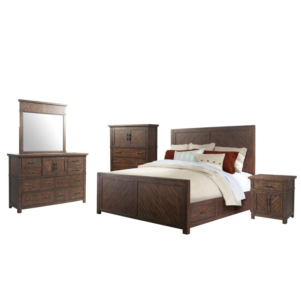 Dex Queen Platform Storage 5pc Bedroom Set Walnut Brown - Picket House Furnishings