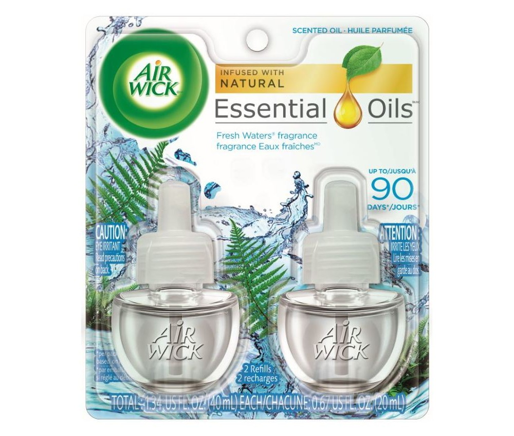 Image of Air Wick Scented Oil Air Freshener, Fresh Waters, Twin Refills, 0.67oz