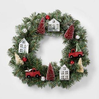 Flocked Christmas Wreath with Decorative Houses - Wondershop™