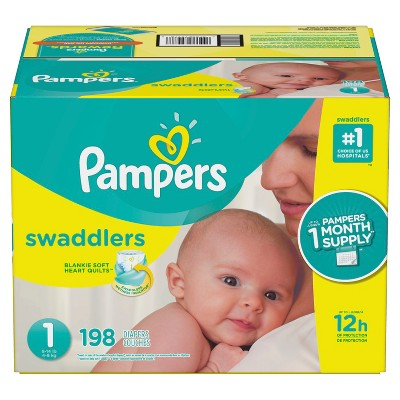 Pampers Swaddlers Disposable Diapers One Month Supply - Size 1 (198ct)