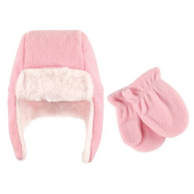 Hudson Baby Toddler Girl Fleece Trapper Hat and Mitten 2pc Set