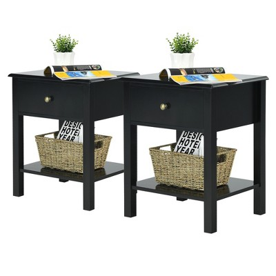Costway 2PCS End Table Nightstand Storage Display Drawer Shelf Beside Table White\Black