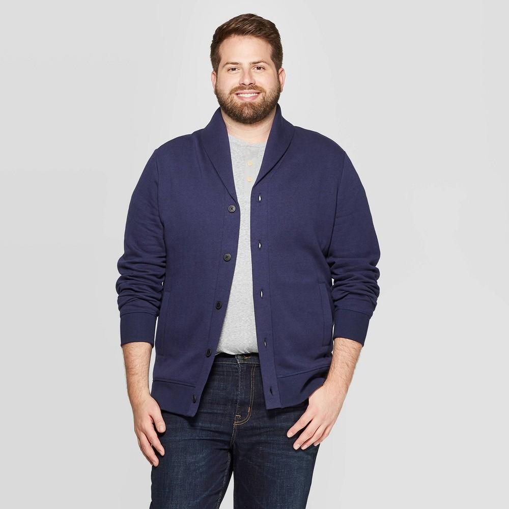 Men S Big Tall Regular Fit Fleece Button Down Sweatshirt Goodfellow Co 8482 Xavier Navy 4xbt