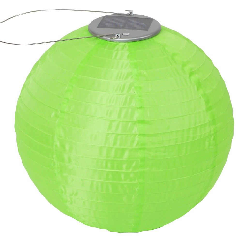 "Image of ""10"""" GLOW Solar LED Outdoor Lantern Green"""