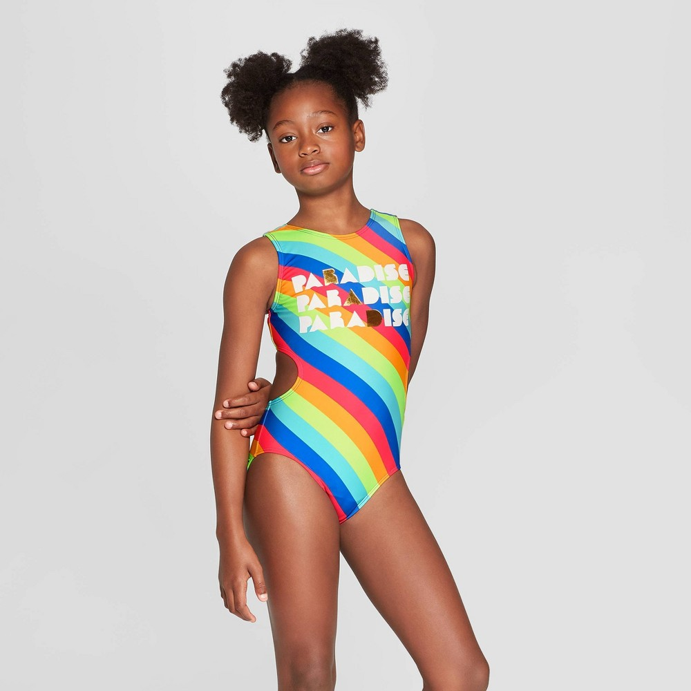 Girls' Paradise is Rad One Piece Swimsuit - art class XS, Blue