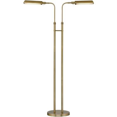 360 Lighting Modern Pharmacy Floor Lamp Adjustable 2-Light LED Plated Aged Brass Metal for Living Room Bedroom Home Office